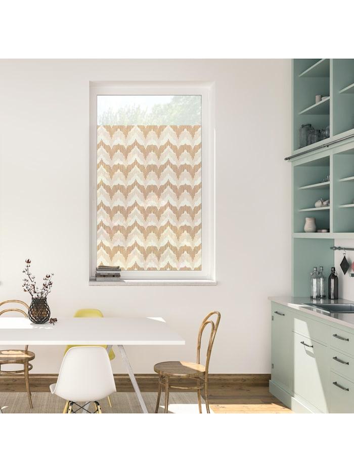 Fensterfolie selbstklebend, Sichtschutz, Boho Zig Zag - Gelb