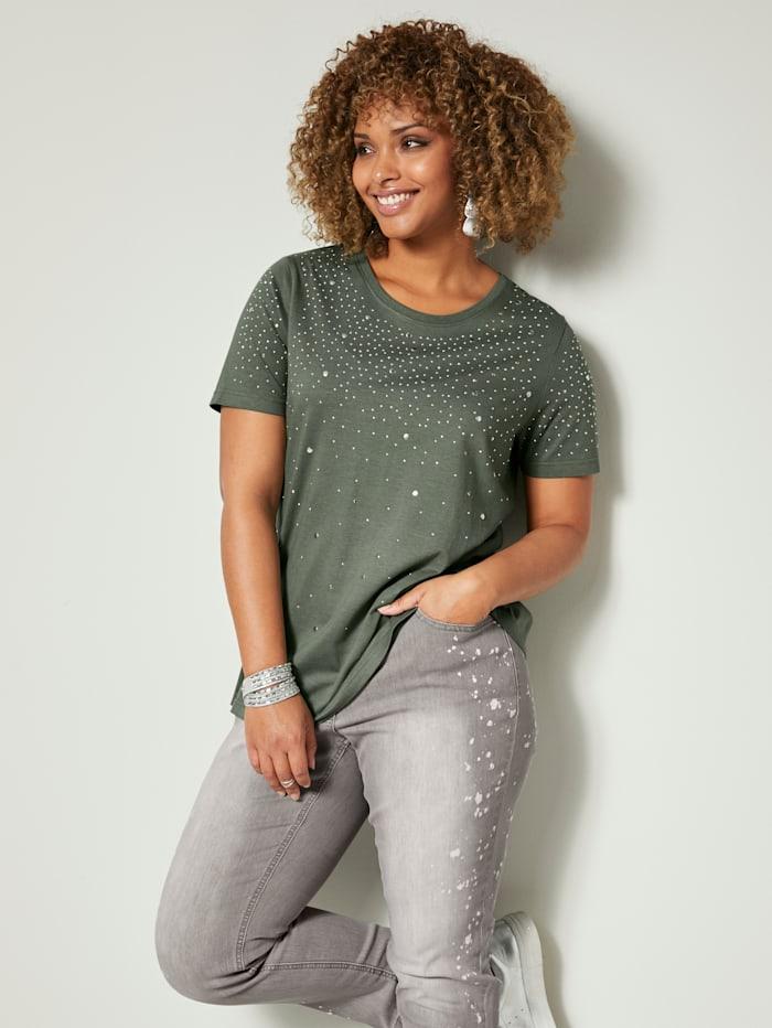 Angel of Style Shirt mit glänzenden Plättchen, Oliv