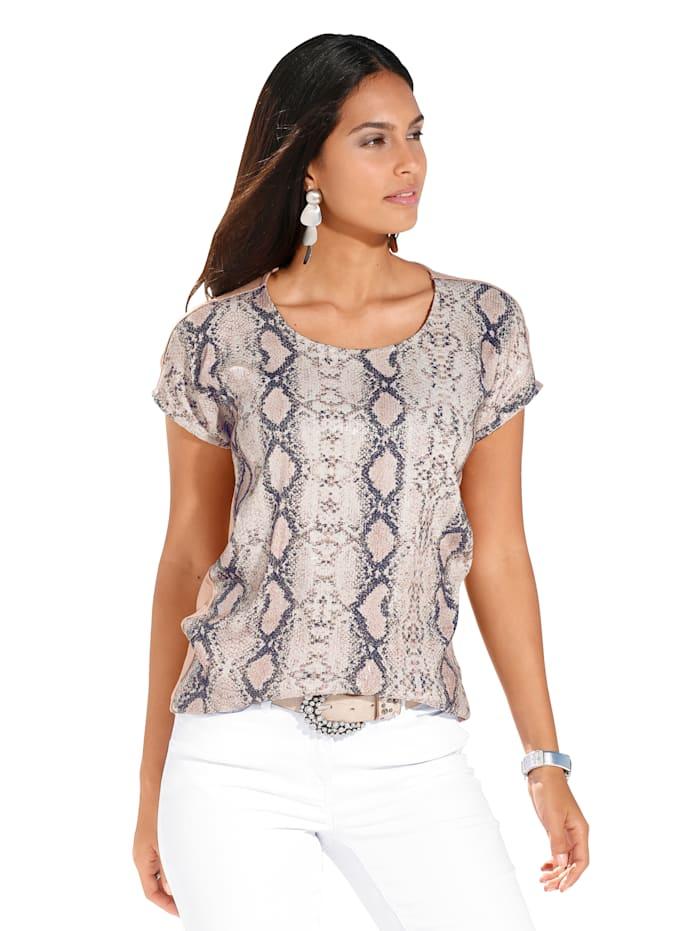 AMY VERMONT Shirt met gestileerde slangenprint voor, Beige/Zwart