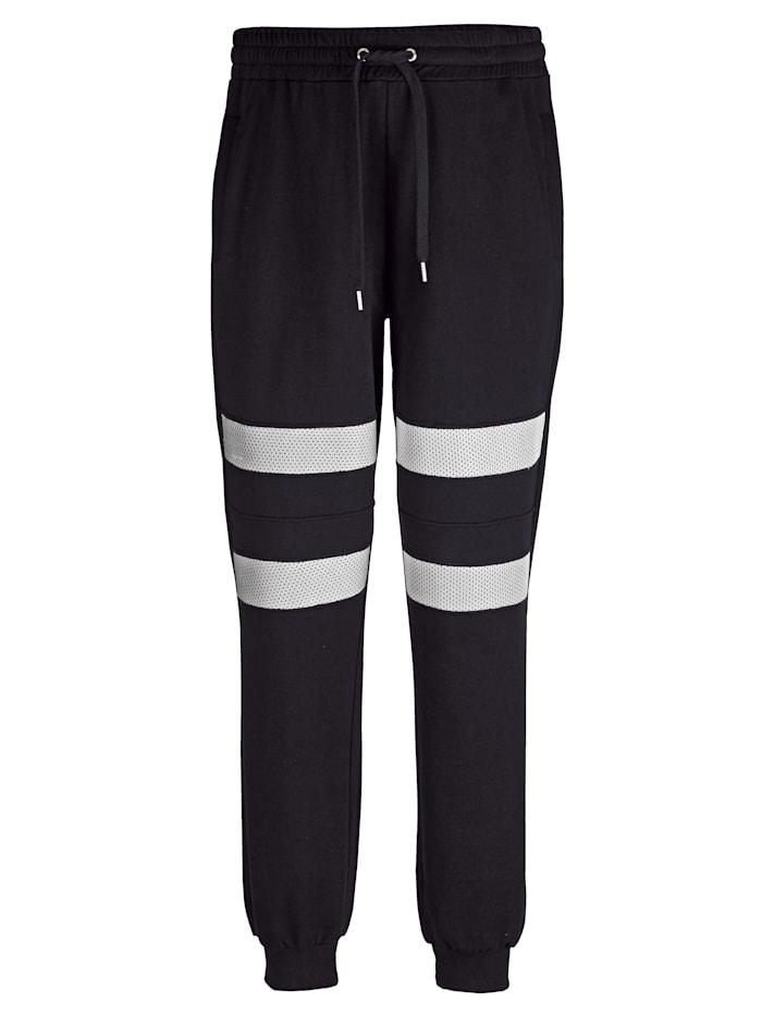 Men Plus Jogginghose aus reiner Baumwolle, Schwarz/Weiß