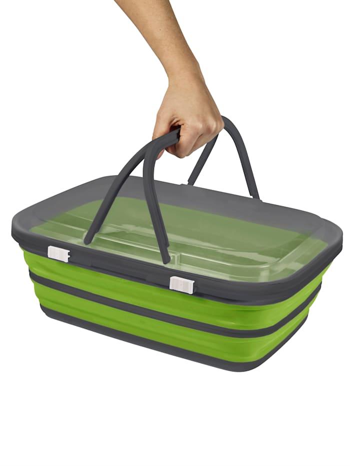 Platzspar-Picknick-Korb, grün/grau
