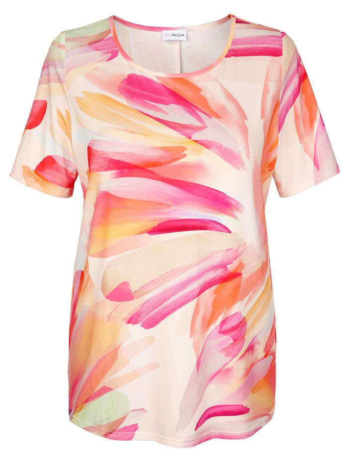 MIAMODA Lyhythihainen batikki-paita, Oranssi/Pinkki