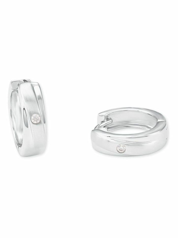 amor Creole für Damen 15 mm 925 Sterling Silber teilmattiert Zirkonia weiß, Silber