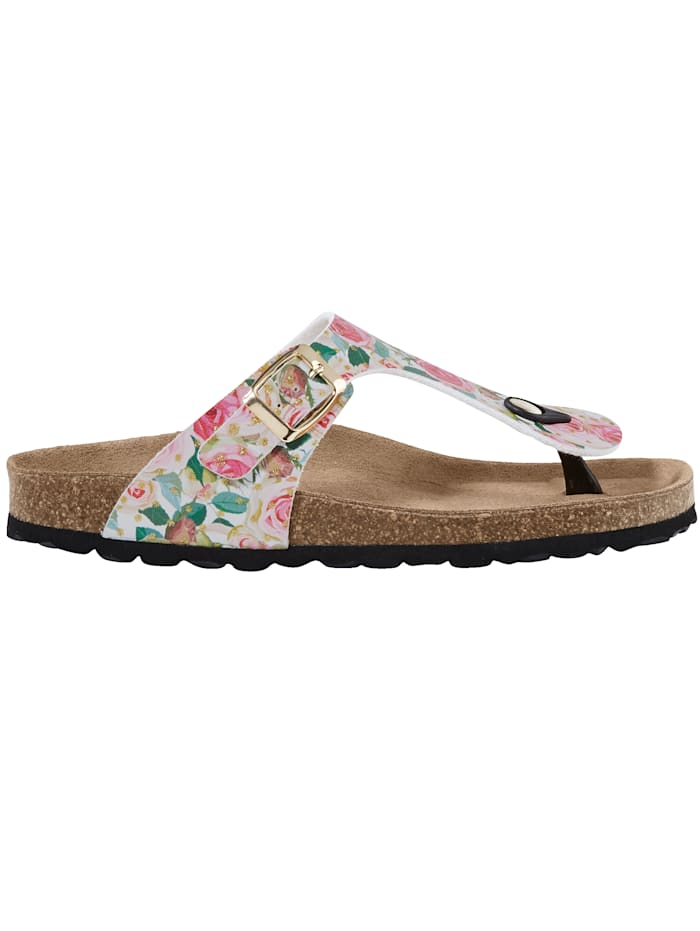 Sandals with a beautiful rose print