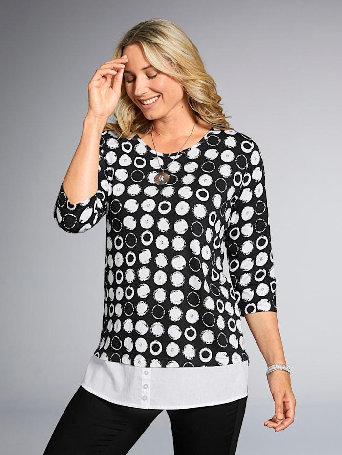 2-in-1 Shirt mit Webeinsatz am Saum