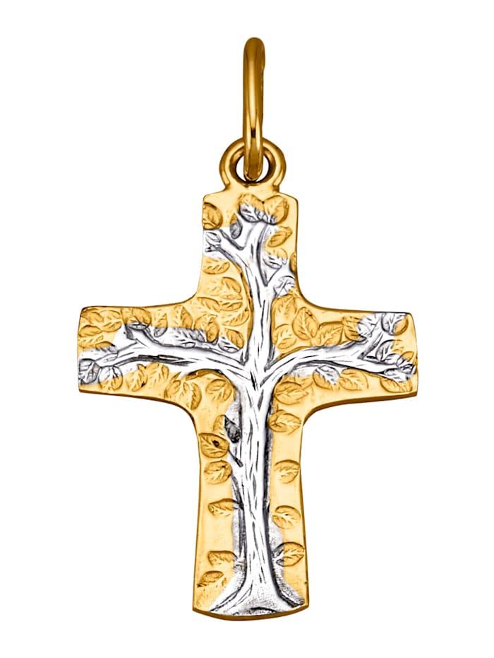 Amara Gold Kreuz-Anhänger, Gelbgoldfarben