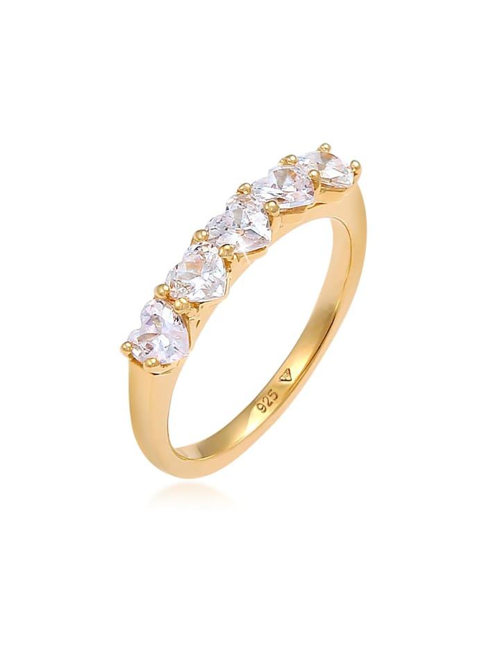 Elli Ring Herz Zirkonia Memoire Verlobung 925 Silber, Gold
