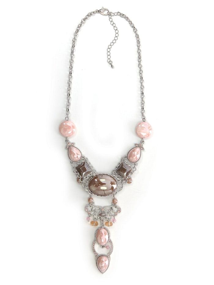 Collezione Alessandro Statementkette Davina mit perlmutt schimmernden Steine, rosa