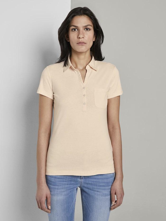 Tom Tailor Basic Poloshirt mit Brusttasche, soft vanilla