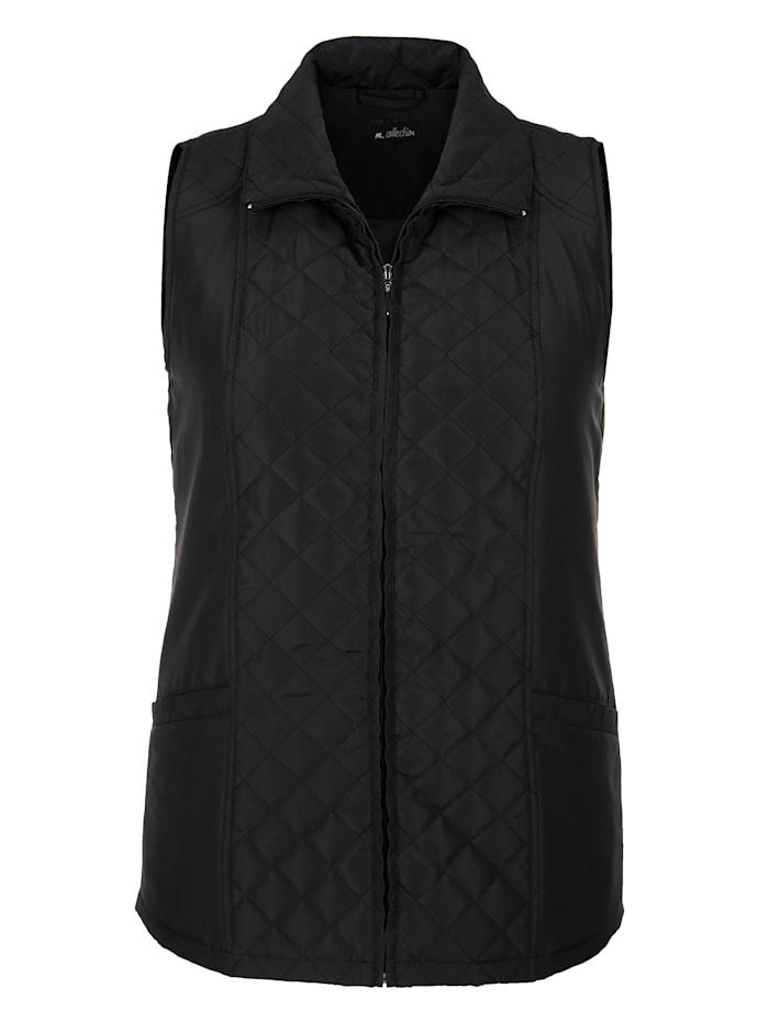 m. collection Bodywarmer met trendy stiksels, Zwart