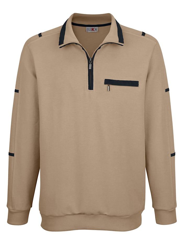 Roger Kent Sweatshirt med hög krage och kort dragkedja, Sand