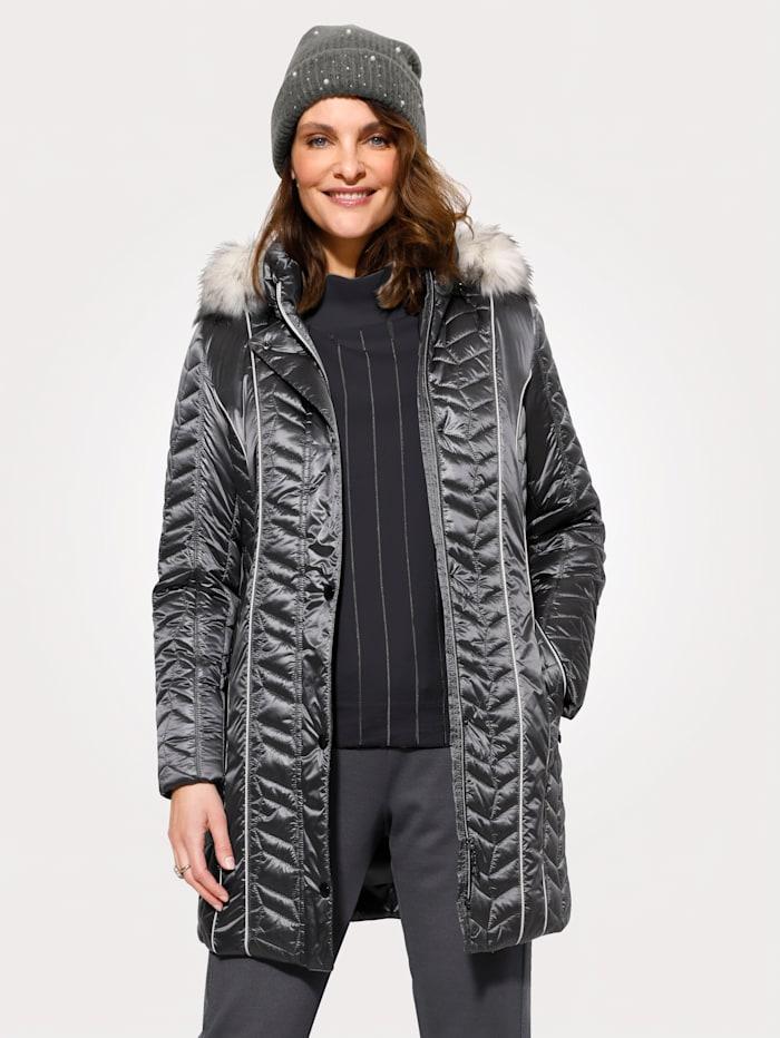 MONA Gewatteerde jas met afritsbare capuchon, Zilvergrijs/Wit