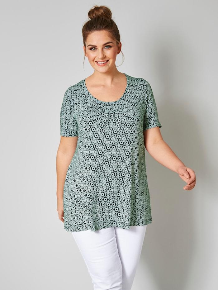 Janet & Joyce Shirt mit Allover-Print, Tannengrün/Weiß