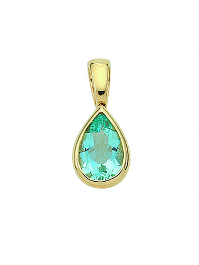 1001 Diamonds Damen Goldschmuck 585 Gold Anhänger mit Aquamarin, blau