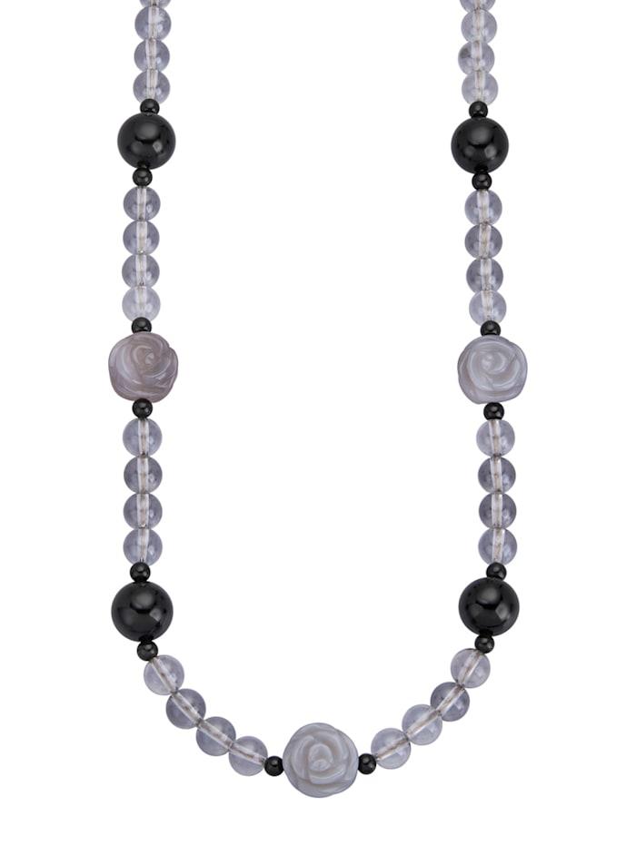 Collier mit Bergkristallen, Grau