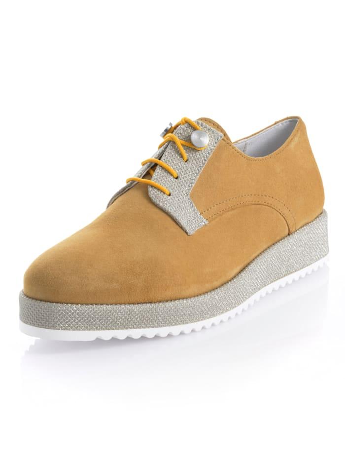 Alba Moda Šnurovacia obuv s plateau podrážkou, Žltá