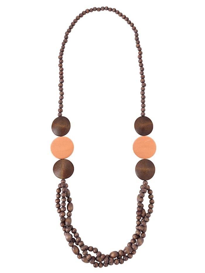 KLiNGEL Halskette aus Holzelementen, Braun