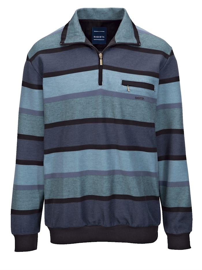 BABISTA Sweatshirt med bröstficka, Blå/Svart