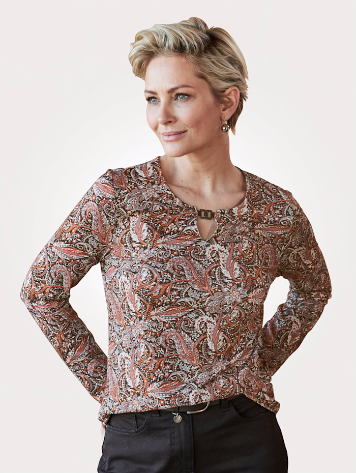 Barbara Lebek Shirt mit Allover-Druck, Terracotta/Braun
