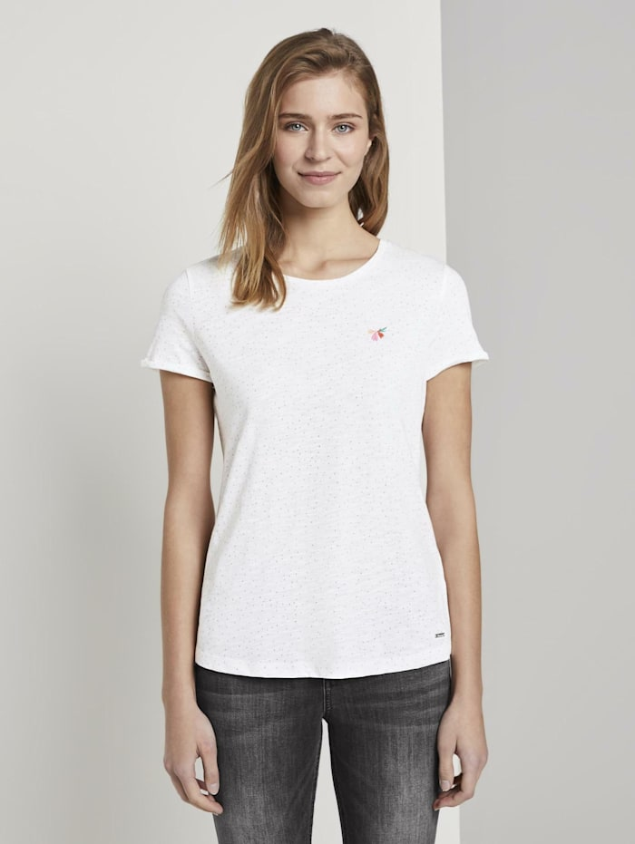 Tom Tailor Denim T-Shirt mit kleiner Stickerei, light pink dots