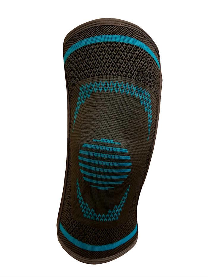 MedoVital Elastická bandáž na koleno s bočnými stabilizátormi, šedá-modrá