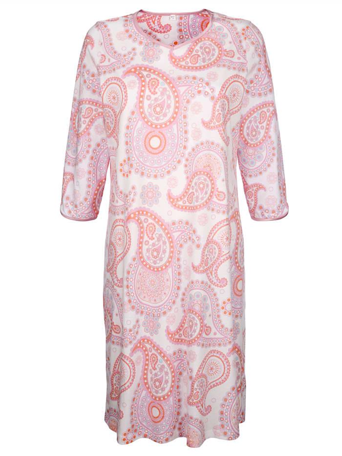 Harmony Nachthemd met contrasterende biezen, Roze/Wit/Lichtblauw