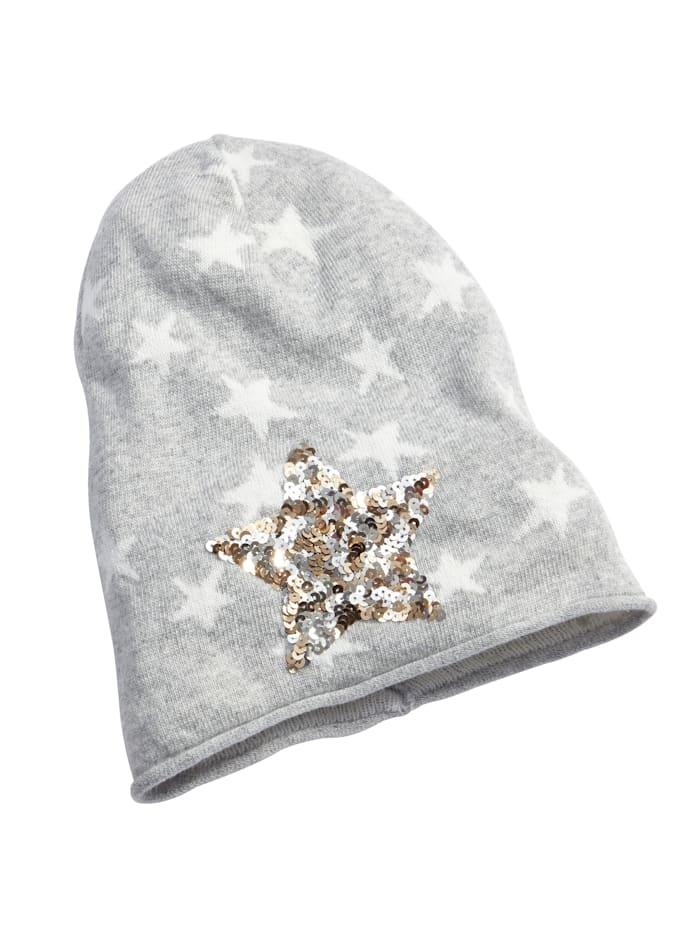 Angel of Style Mütze mit Stern aus Pailletten, grau-ecru
