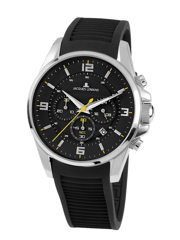 Jacques Lemans Herren-Uhr Chronograph Serie: Liverpool, Kollektion: Sport 1-1799A, Schwarz/Silberfarben