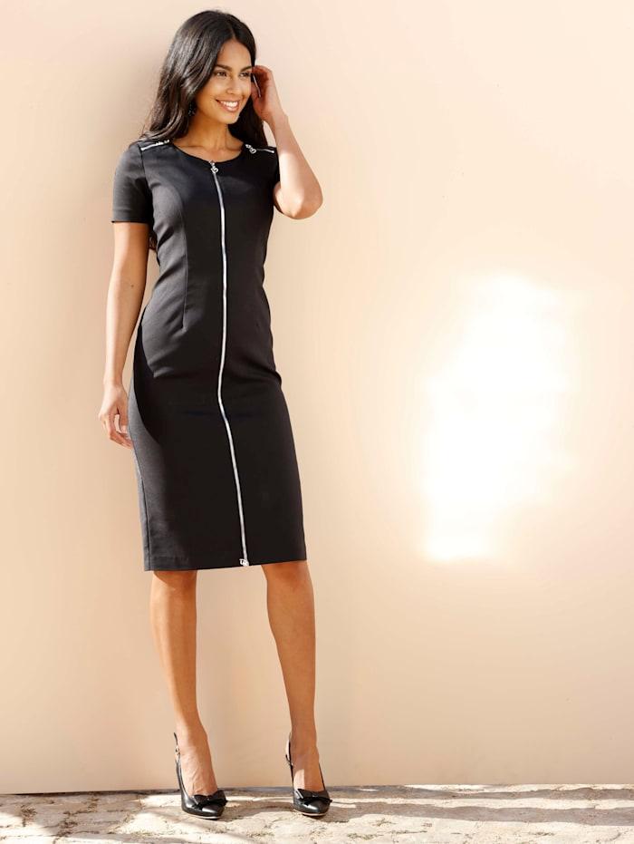 AMY VERMONT Kleid mit dekorativem Reißverschluss in der vorderen Mitte, Schwarz