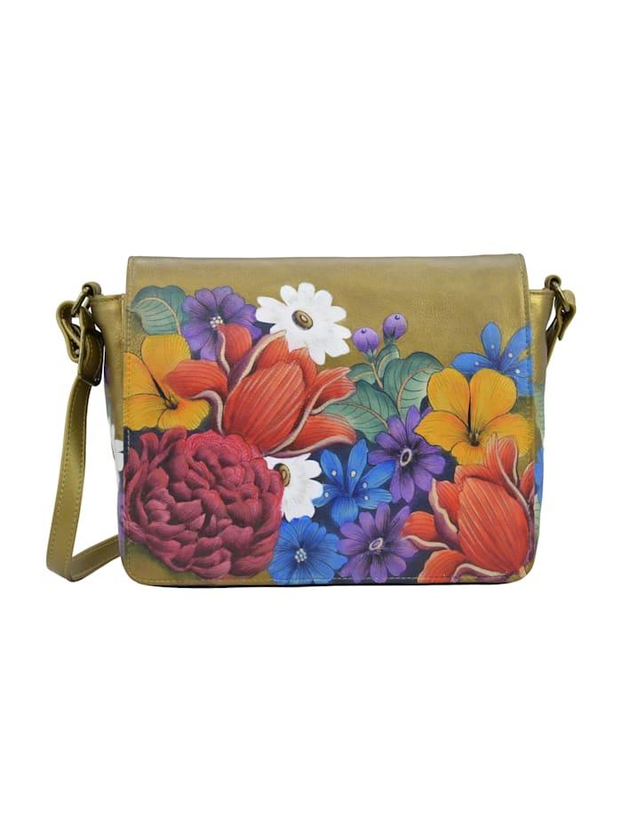 ANUSCHKA Umhängetasche Dreamy Floral (handbemaltes Leder), bunt