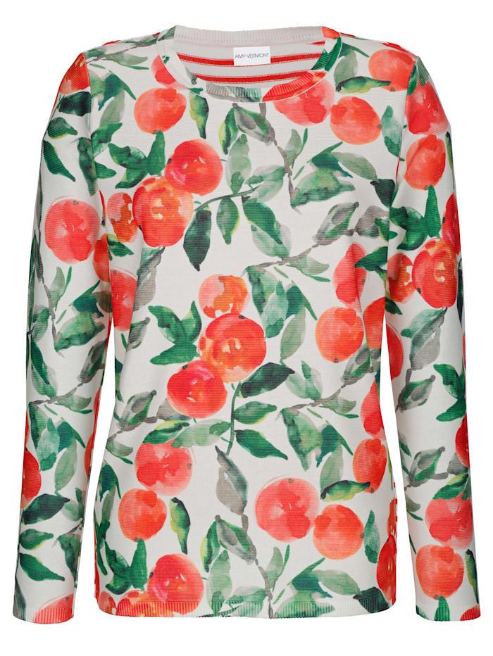AMY VERMONT Pullover mit Orangen- und Streifendruck, Orange/Grün/Weiß