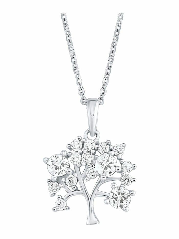 amor Kette mit Anhänger für Damen, Sterling Silber 925, Zirkonia Lebensbaum, Silber