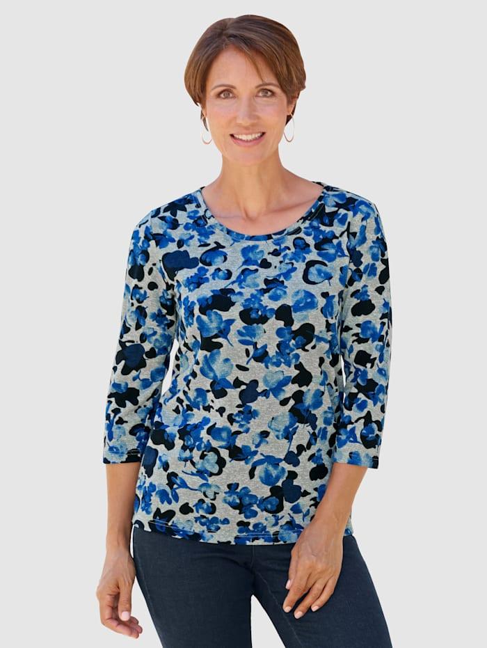 Paola Shirt im modischen Druckdessin, Weiß/Marineblau