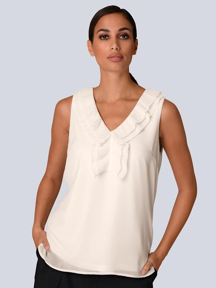 Alba Moda Top mit dekorativem Plisseebesatz, Off-white