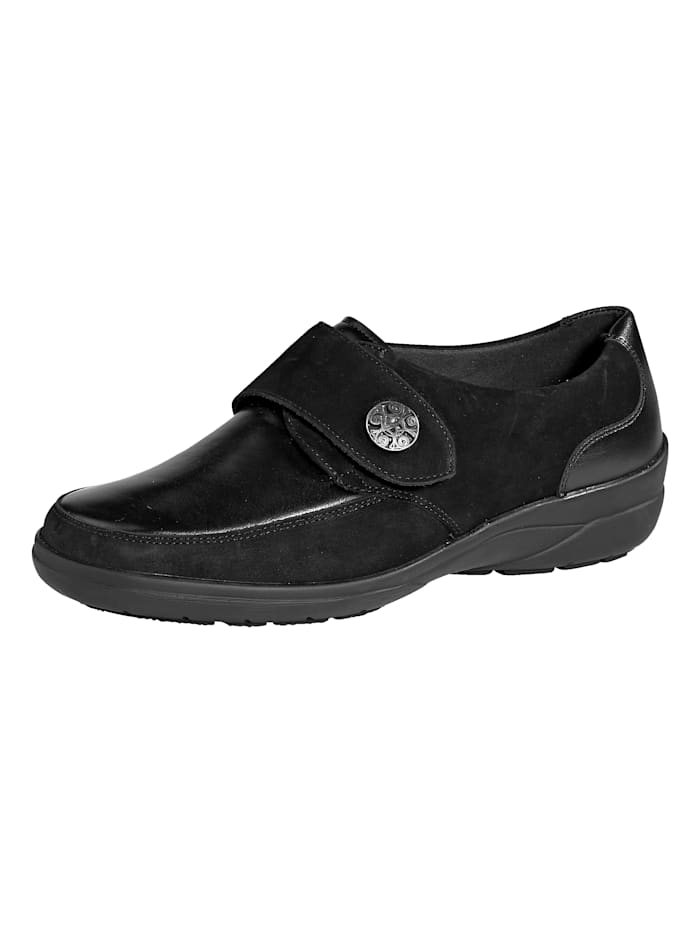 Solidus Klittenbandschoen met zacht gepolsterde rand, Zwart