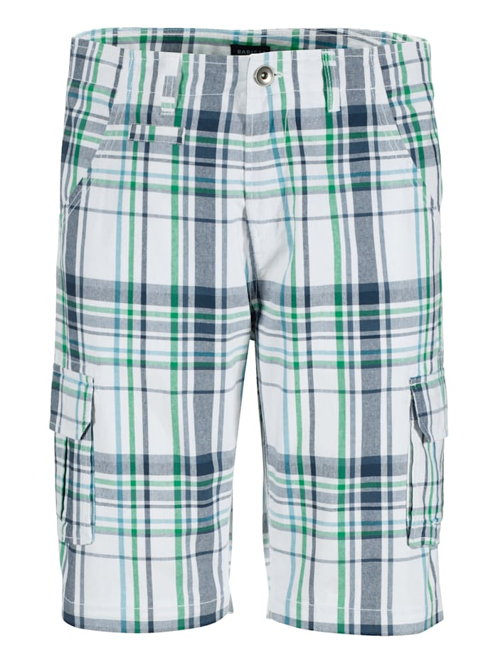 BABISTA Bermuda avec poches cargo, Blanc/Turquoise/Vert