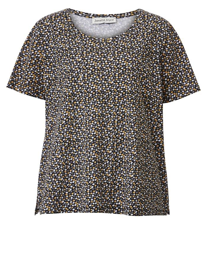 Janet & Joyce Shirt van zuiver katoen, Wit/Zwart/Okergeel