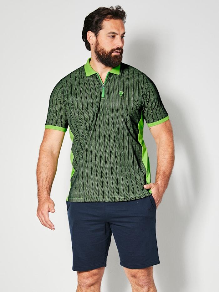 Men Plus Poloshirt van sneldrogend materiaal, Marine/Neongroen