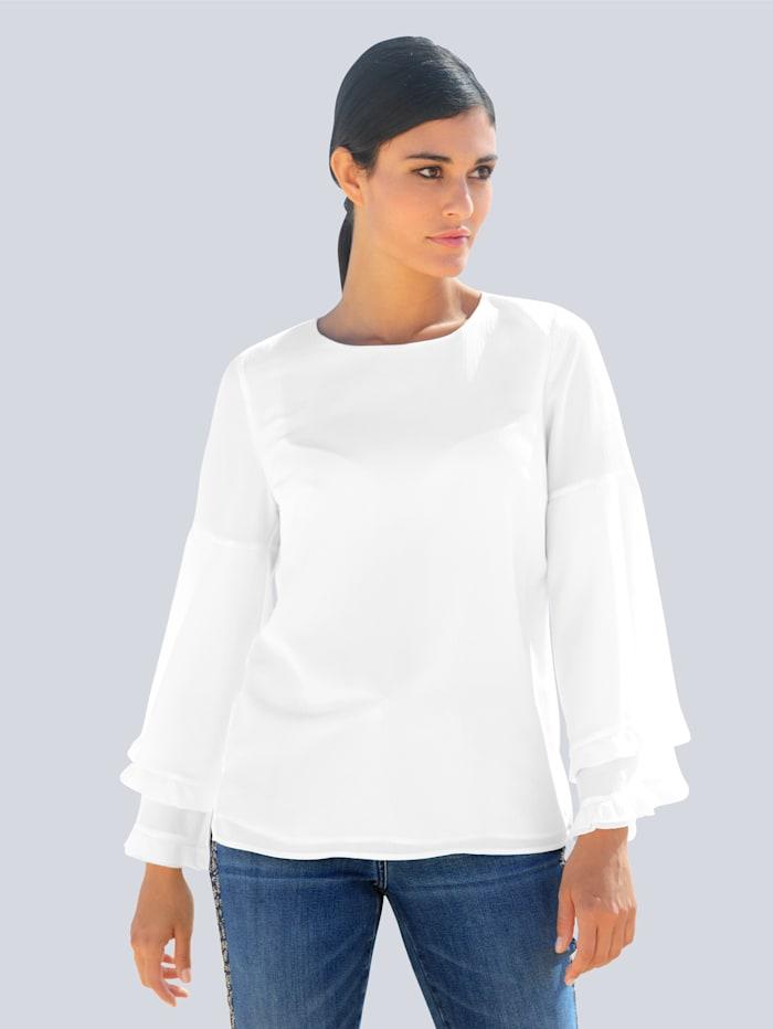Alba Moda Bluse aus effektvollem Crinkle-Chiffon, Off-white