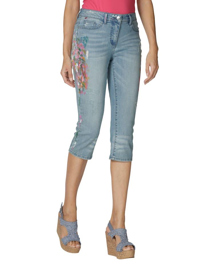 AMY VERMONT Capri-jeans met subtiele verfspatten, Blue bleached