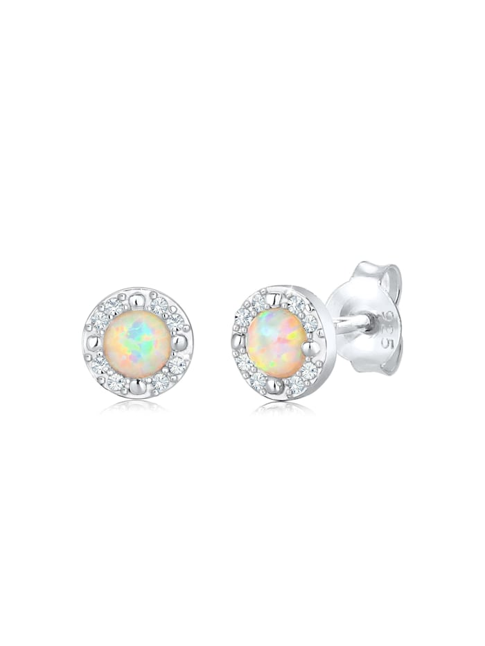 Elli Premium Ohrringe Stecker Opal  Kristalle Zart 925 Silber, Silber