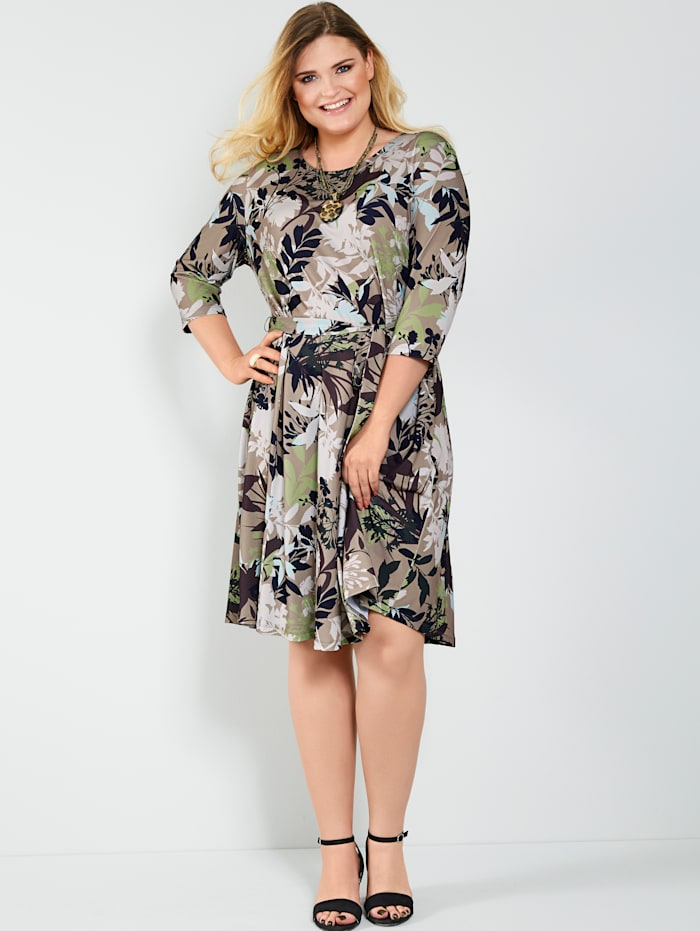 Sara Lindholm Jersey jurk met bloemendessin, Lichtgroen/Taupe