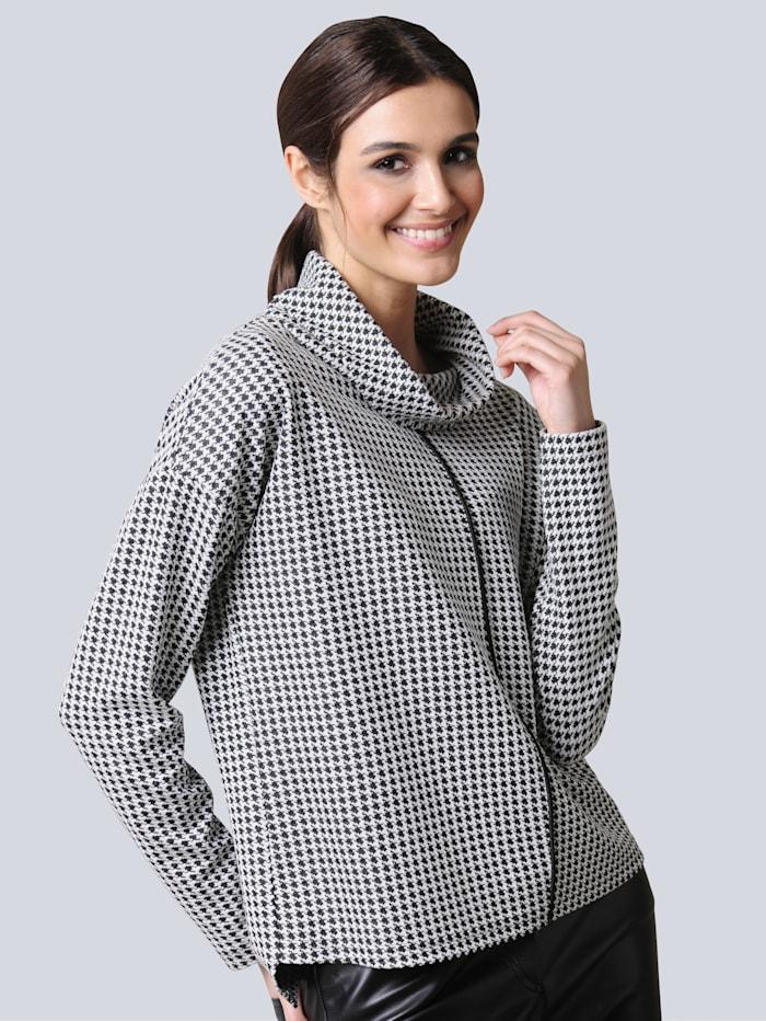 Alba Moda Shirt allover im Hahentrittmuster, Schwarz/Weiß