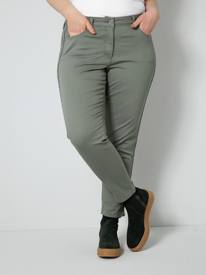 Sara Lindholm Pantalon avec broderie, strass et paillettes sur les côtés, Olive