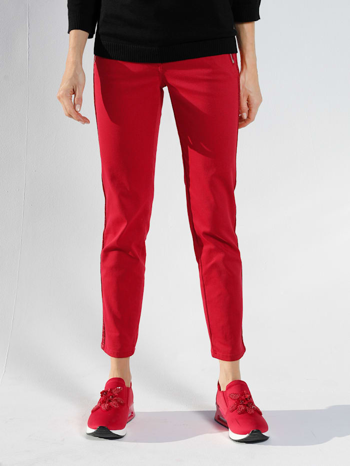 AMY VERMONT Džínsy s ozdobným pásom na bokoch, Červená