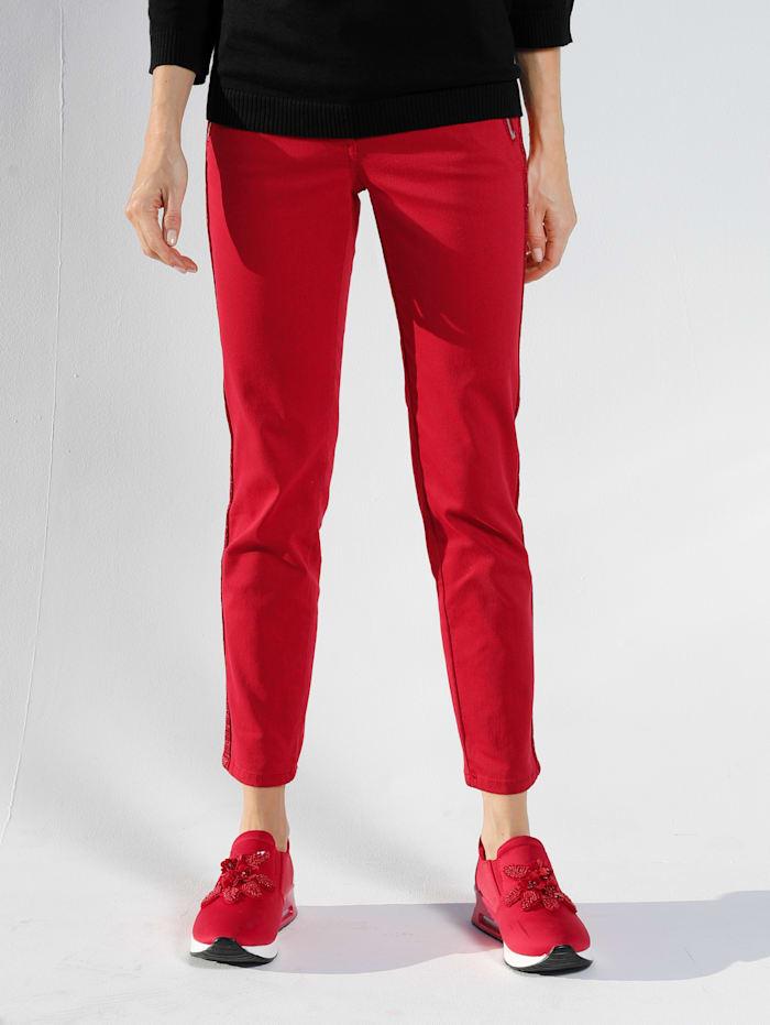 AMY VERMONT Jeans med glittriga revärer, Röd
