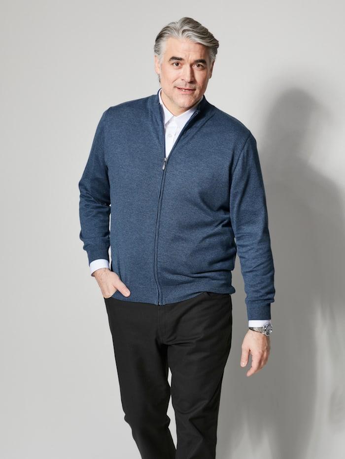 Men Plus Strickjacke aus pflegeleichter Baumwoll-Mischung, Blau