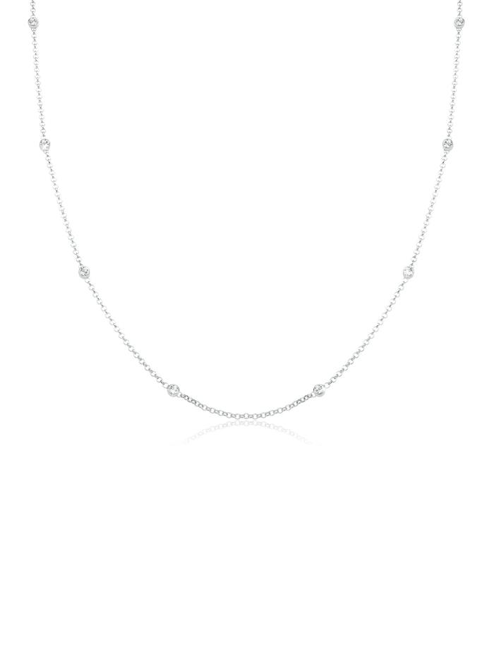 Elli Halskette Solitär Basic Kristalle 925 Silber, Weiß