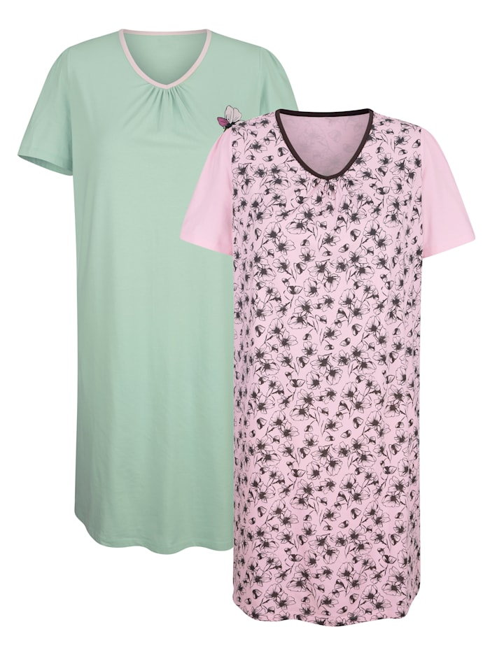 Harmony Nachthemden im 2er-Pack mit romantischem Blumendruck, Hellgrün/Rosé