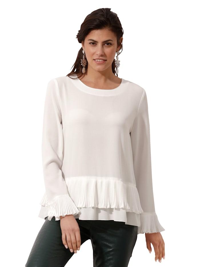 AMY VERMONT Bluse mit Plissee an den Säumen, Off-white